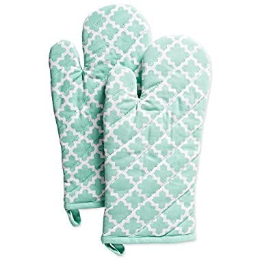DII Cotton Lattice Oven Mitts, 13 x 7  Set of 2, Machine Washable and Heat Resistant Baking Glove for Everyday Kitchen Cooking-Aqua