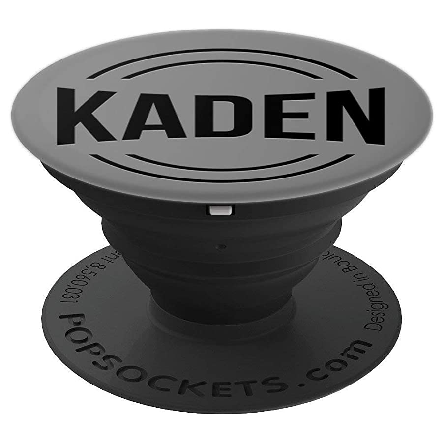 First Name Kaden Black Text on Grey PACH831 - PopSockets Grip and Stand for Phones and Tablets
