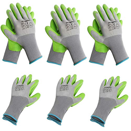 WORKPRO 6 Pairs Garden Gloves, Work Glove with Eco Latex Palm Coated, Working Gloves for Weeding,...