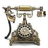 MASUNN Retro Vintage Pulsador Cerámica Antiguo Teléfono Dial Escritorio Teléfono Decoración para el hogar - Latón antiguo