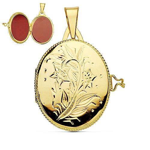 Colgante de mujer Portafotos (guardapelo) Oval Labrado Oro Amarillo 18 Kilates 26 MM
