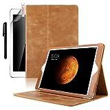 Boriyuan iPad Air2 ケース 高級牛革 傷つけ防止 カードポケット スタンド機能 オートスリープ スマートカバー iPad Air2 専用ケース 保護フィルム+タッチペン付き (ブラウン)