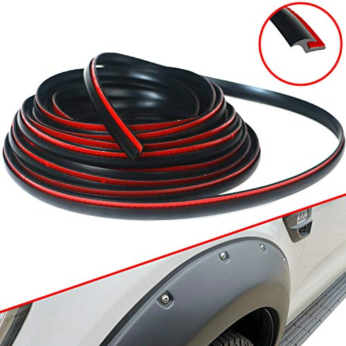 "Fender Flares Edge Trim, Fender Flare Rubber Seal for Car and Truck Wheel Wells, Rubber Gasket for Fender Flares Universal, Bonds w/ Automotive-Grade Adhesive Tape, T-Style, 30' Length, 0.232"" Height"