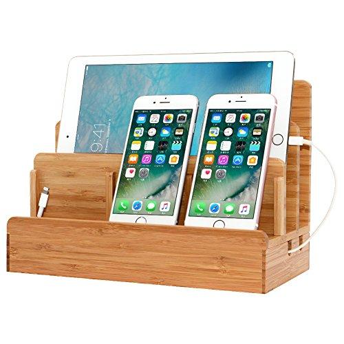 JOOCII 進化版 5台同時充電スタンド 竹製卓上充電ステーション スマホ充電 配線収納スタンド式 木目 Mac book/iPad/iPhone/Xperia/Kindle等適用 (Large)