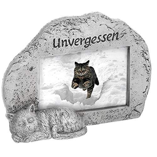 """Grabdeko Bilderrahmen für Hunde und Katzen ca.15 x 4 cm - Grabschmuck - Grabvase Farbe Katze""""Unvergessen"""""""