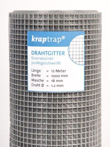kraptrap® Volierendraht Drahtgitter 16x16mm Masche 1x12m Schweißgitter 4-eck Drahtzaun (1m x 12m)