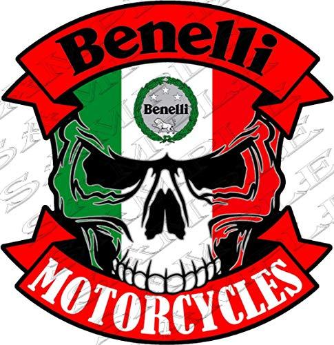 zeropzal.de #12-SKULL BENELLI MOTORCYCLES - 9,5x9 cm! AUFKLEBER AUTOCOLLANT STICKER TUNING MET CONTOUR CUT - UV-bestendig LAMINATED