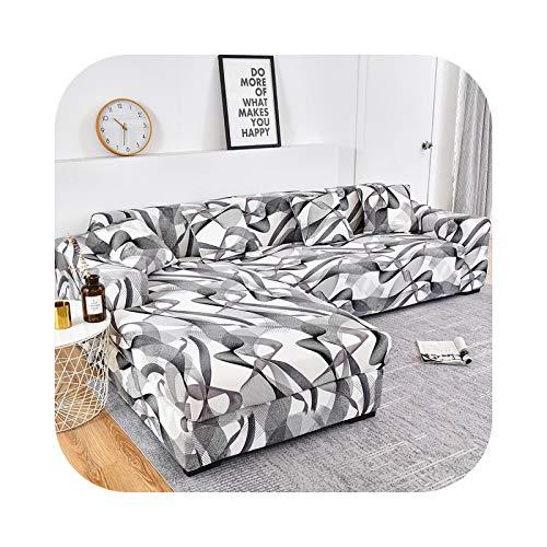 Friendshiy - Funda de sofá de esquina extensible, funda de sofá para salón elástica, toalla en forma de L, para tumbona, 2 piezas, color 3-4-seat 235 – 300 cm