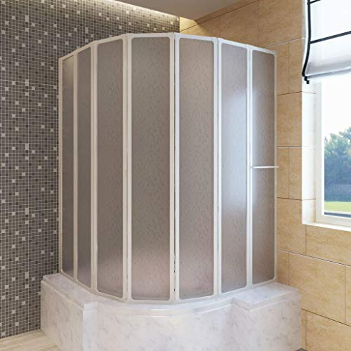 Lechnical Duschwand Duschabtrennung Badewannen Faltwand für Badewanne Duschwand Badewannenaufsatz Badewannenfaltwand 140 x 168 cm 7 Faltwände