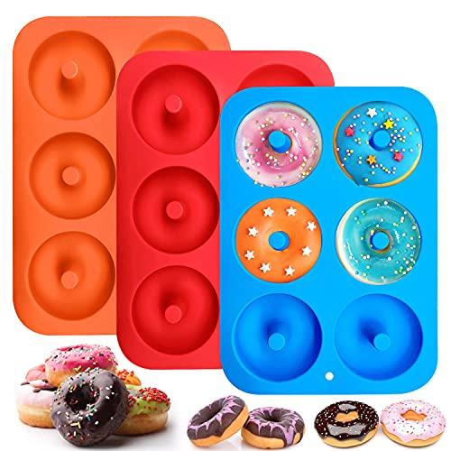 Molde Donuts de Silicona, Juego de 3 Antiadherente Hornear Molde Donuts para Pasteles para Horno, Lavavajillas, Microondas, Refrigerador