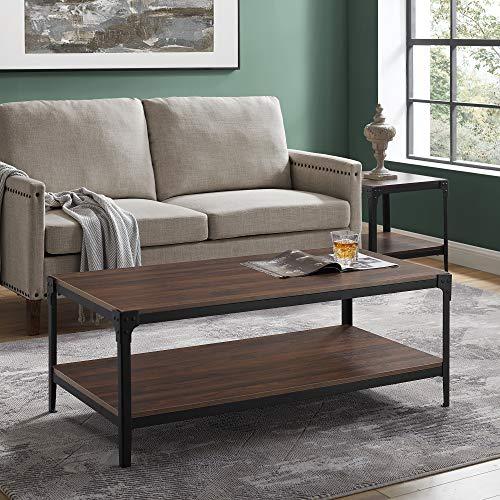 Walker Edison Declan Urban Industrial Angle Iron and Wood Coffee Table 46 inch Walnut Brown