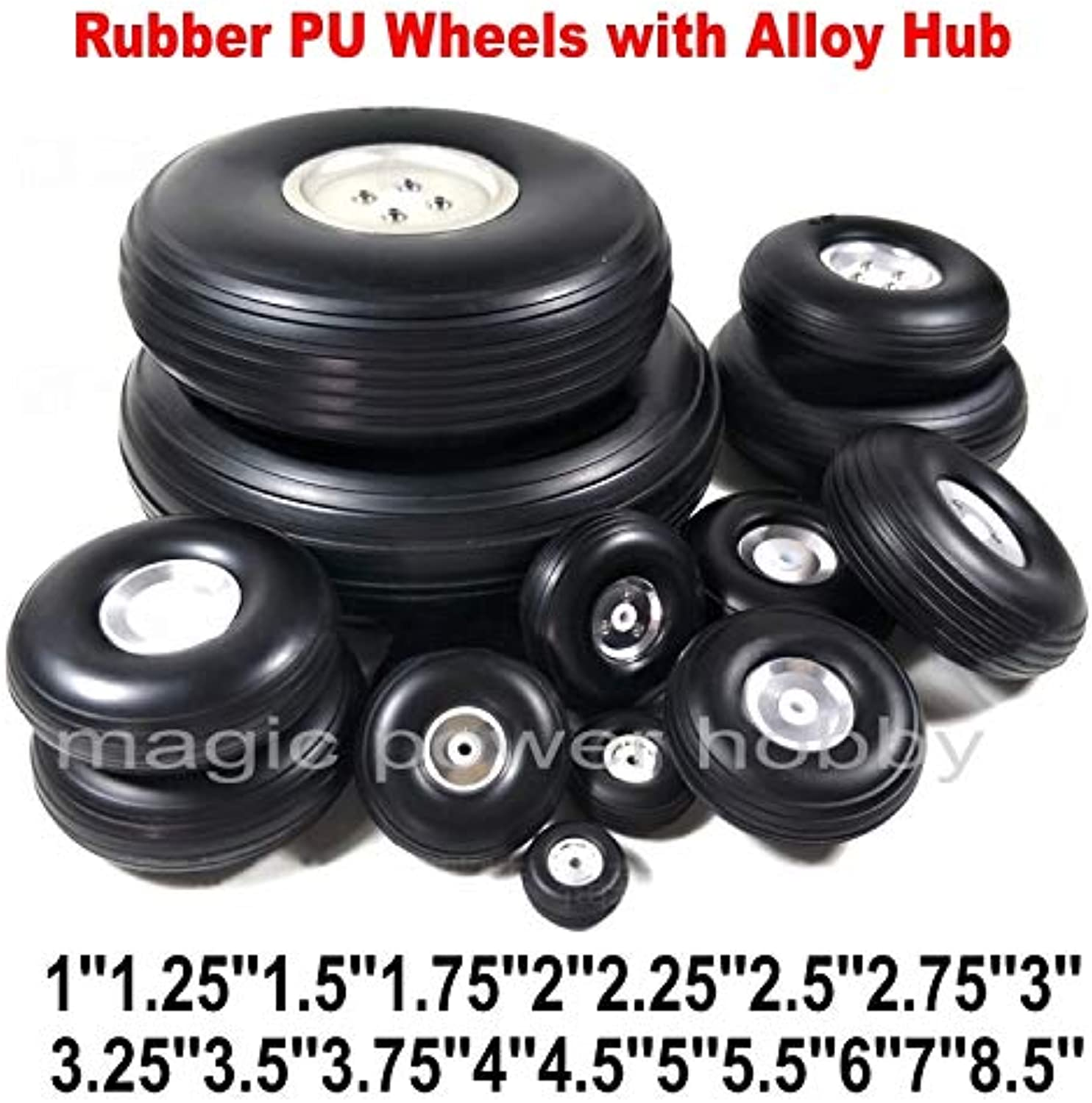 Laliva Airplane Rubber Tail Wheels PU with Alloy Hub 1''8'' Inch for RC Plane Replacement Wheels Wholesale Price  (color  2pcs Type4)