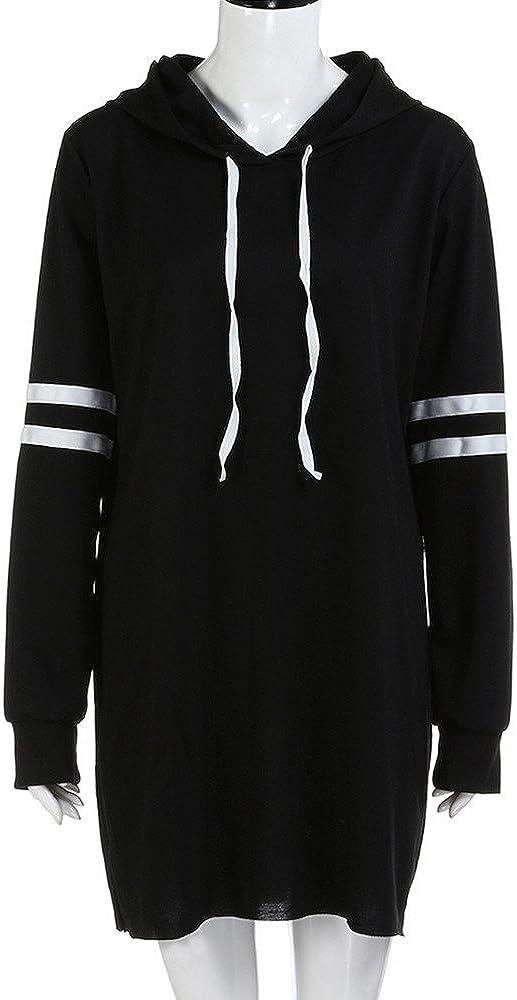 Lemooner Frauen Kapuzenpullover Mode Sweatshirt Langarm Damen Kapuzenpulli Lang Pullover Kleid
