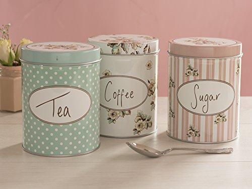 "Katie Alice ""Cottage Flower"" 3 Piece Set of Large Coffee, Sugar & Tea Storage Tins by Creative Tops – 4.21"" x 5.1"" (10.7 x 13 cm)"