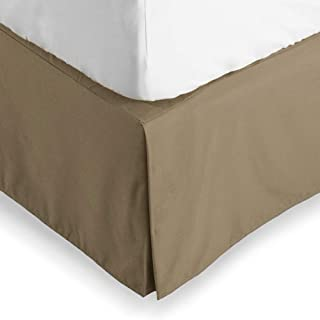 Bare Home Bed Skirt Double Brushed Premium Microfiber, 15-Inch Tailored Drop Pleated Dust Ruffle, 1800 Ultra-Soft, Shrink and Fade Resistant (Twin XL, Taupe)