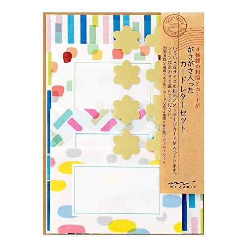 デザインフィル ミドリ レターセット ガサガサ カードタイプ マーカー柄 86488006