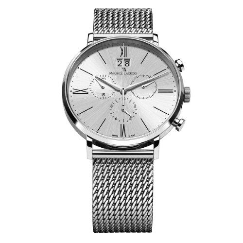 Maurice Lacroix Herren-Armbanduhr XL Eliros Chronograph Quarz Edelstahl EL1088-SS002-110