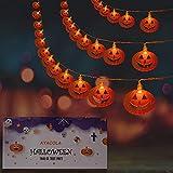 Luci stringa Halloween, luci a LED a forma di zucca a batteria da 4.5m 30 LED per decorazioni di Halloween per interni ed esterni (due modalità 2 modalità fisse/sfarfallio)