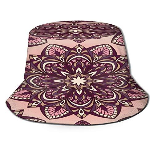Sombrero de Pesca,Elementos de Color Redondo de Patrones orientales sin Fisuras,Senderismo para Hombres y Mujeres al Aire Libre Sombrero de Cubo Sombrero para el Sol