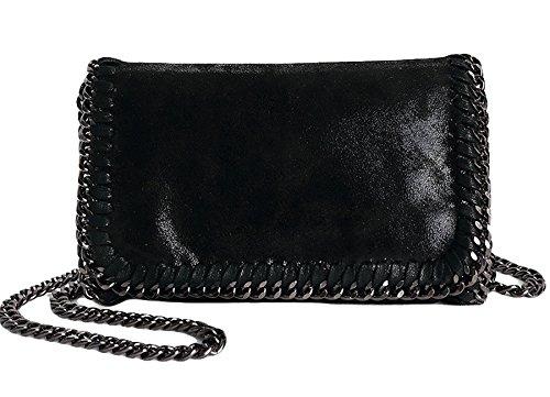 Rovanci Damen Handtasche Elegant Taschen Damen Shopper Schultertasche Kette Schwarz
