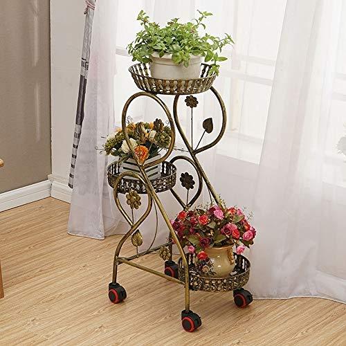 Soporte de Flores Europeo Hierro Forjado Piso de múltiples Capas movible Rueda extraíble Balcón Sala de Estar Interior Rosa Verde Soporte for orquídeas Colgantes (Color : C)