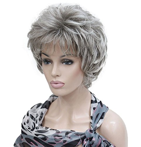 Lydell Women's Short Curly Wavy Wig Light Gray with Dark Root Synthetic Hair Full Wig 6 inches