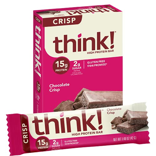 think! High Protein Bars - Chocolate Crisp, 15g Protein, 2g Sugar, No Artificial Sweeteners, GMO & Gluten Free, 10 Count