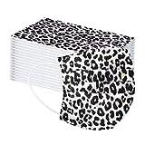 Jasinto 3 Schichten Mundschutz für Damen Herren, Anti-Staub Plissee Bandana Halstuch Nasenschutz Schlauchschal Multifunktionstuch, Nasen und Lippen Schutz, Kreativität Leopard Drucken, 50er Pack (A)