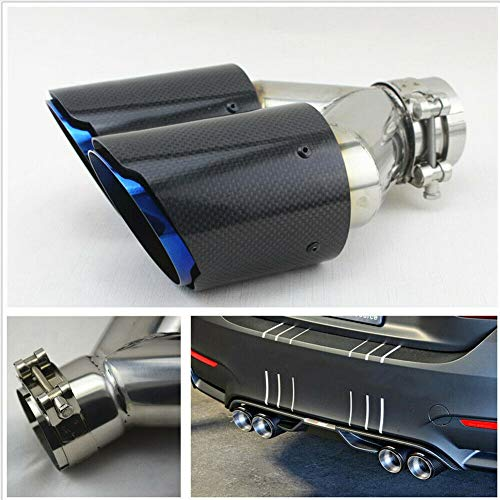 Carbon Fiber Endrohr, Dual Pipe Round Mouth Auto Auspuff Liner Universal Hals für Auto 63mm Ende Blau(wie Gezeigt)
