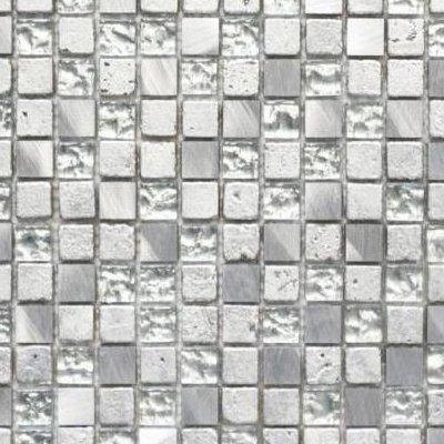Mosaik Fliese Transluzent Aluminium silber Glasmosaik Crystal Alu Resin silber für WAND KÜCHE FLIESENSPIEGEL THEKENVERKLEIDUNG Mosaikmatte Mosaikplatte