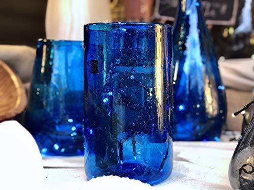 Maison Zoe Zylinder Glasvase aus Recycling-Glas Elena - Dunkelblau - blau - mittelgroß - Durchmesser ≈ 11cm Höhe ≈ 22cm - 100{fdf75430081be84a901b50fb58525c2f51bf5c16ff56170f623cfec076eeb41e} Handmade - Blumenvase - Vase mundgeblasen - Dekovase - Tischvase