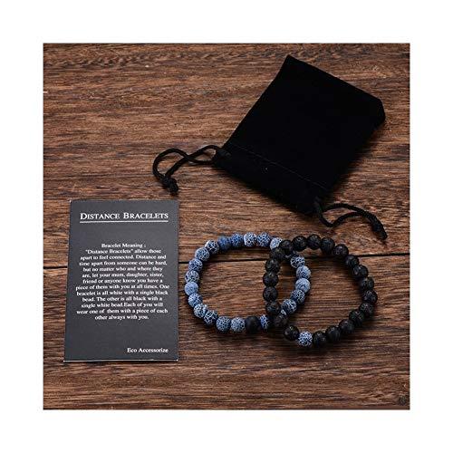 HKLD Pulsera Y De Pulsera De Cuentas De Los Hombres De Las Mujeres De Los Mejores Amigos (Color : Rock Black Blue Bag)