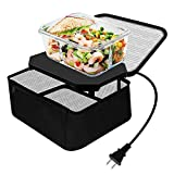 Triangle Power Personal Portable Oven, Electric Slow Cooker for Food,Mini Oven for Meals Reheat,Food Warmer with Lunch Bag,Collapsible Container Included(110V-Black)