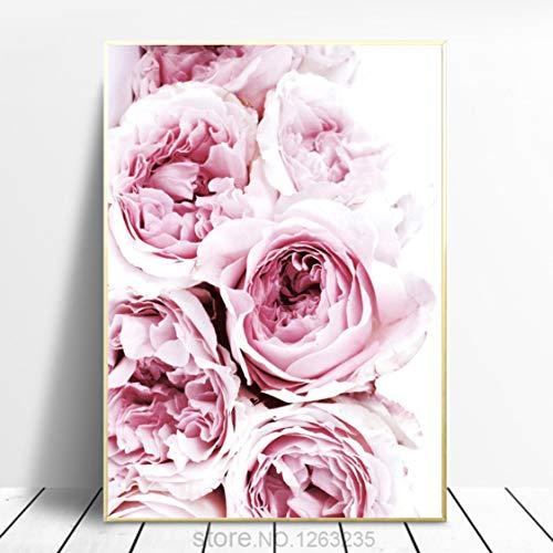 Danjiao Nordic Poster Rosa Rosen Pfingstrose Decoracion Bild Plakaty Poster Und Drucke Wandkunst Leinwand Gemälde Bilder Ungerahmt Wohnzimmer 60x90cm