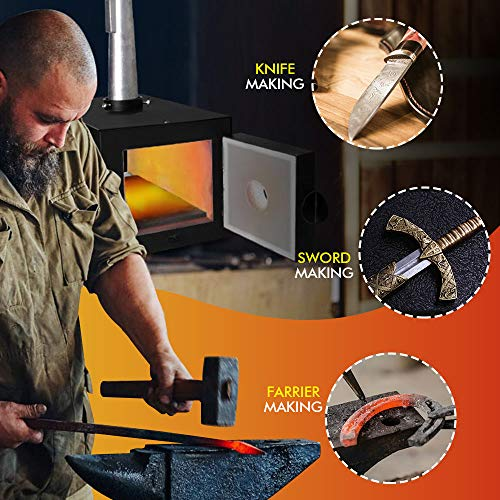 TOAUTO Portable Propane Forge Single Burner Large Capacity Knife Blacksmithing Forge Kit Metal Casting Kiln Tool Making Farrier Forge (Liner 5.5'' x 5.5'' x 12 '')