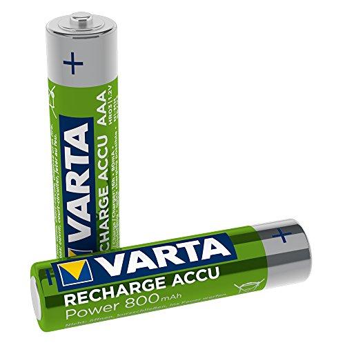 VARTA Akku, NiMH Longlife, Micro (AAA/HR03) 800 mAh, 1,2 Volt, 2 Stück