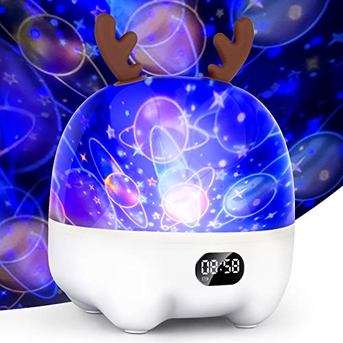 Star Projector Night Light for Kids Baby, Bluetooth Music Speaker Alarm Clock, Dimmable Color Change RGB Party Lamps, Birthday Christmas Gifts for Boys Girls Children (5-in-1 Features)