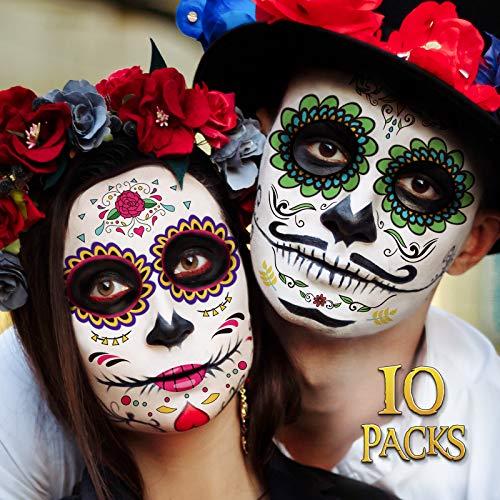 Day of the Dead Face Tattoos - 10 Pack Día de Los Muertos Temporary Face Sticker Kit Halloween Decorations Sugar Skull Costume Makeup Decor Glitter Red Roses Skeleton Full Face Mask Tattoos Temporary