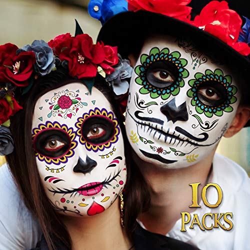 Day of the Dead Face Tattoos, 10 Pack Día de Los Muertos Temporary Face Sticker Kit, Halloween Decorations Sugar Skull Costume Makeup Decor, Glitter Red Roses Skeleton Full Face Mask Tattoos Temporary