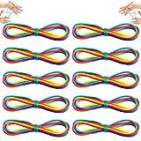 DazSpirit 10 Pièces Strings Jouet Rainbow Rope Elastique Corde à Doigts Chaîne Jeu de Jouet pour Partie Fournitures Bas de Noël, 65 Pouces / 165 cm Longueur, Couleur Arc en Ciel