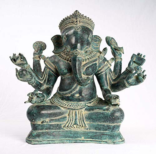 HD Asian Art Ganesha Statue – Antike Khmer-Stil Bayon Bronze sitzend 8-armige Ganesh-Statue – 40 cm