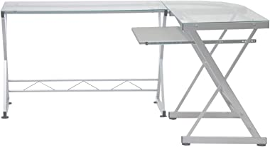 TECHNI MOBILI RTA-3802-GLS L-Shaped Tempered Glass Top Computer Desk with Pull Out Keyboard Panel, Clear