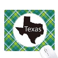 テキサスアメリカ 米国のマップのシルエット 緑の格子のピクセルゴムのマウスパッド