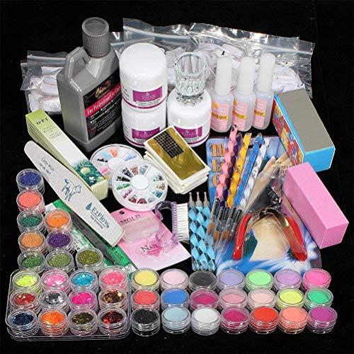 Gelnägel Starterset, False Nails Kit mit Acrylpulver und Flüssigkeit für Maniküre-Nagelfeilen, Tragbare Nagelbohrmaschine für DIY Nail Art, Acryl Nagelset Komplett für Anfänger