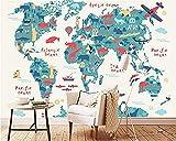Versión de dibujos animados de The World Map Animal Series Hd Print Wall Decoration Art Poster Picture Grandes murales d papel pintado pared dormitorio de estar sala de estar fondo tela-250cm×170cm