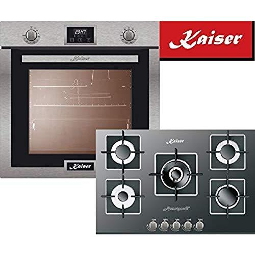 Kaiser Autark/Kaiser Eg 6372 - Hornillo de gas para cocina de gas (77 cm, con pincho giratorio, acero inoxidable, cristal negro)