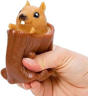 Squeeze Squirrel Cup Children's Toys, Evil Decompression Tree Stumps,Rubber Fidget Toys,Cute Miniature Telescopic Pen Hold...