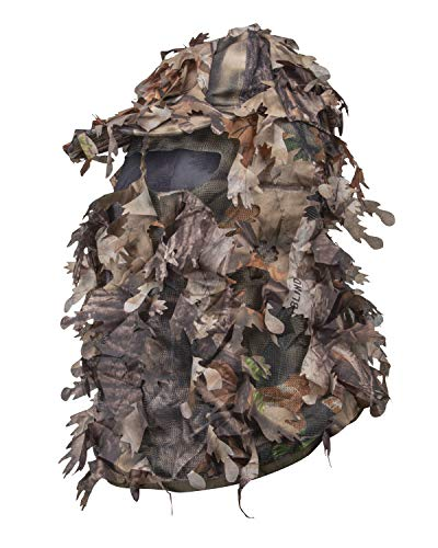 North Mountain Gear Hunting Camouflage Leafy Hat with Full 3D Face Mask Ghillie Paintball Airsoft (Woodland Brown)