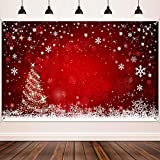 Materiales de Decoración de Navidad, Telón de Fondo de �rbol de Navidad y Rojo de Invierno Tela Grande, Pancarta de Fondo de Foto de Bokeh de Copo de Nieve, 72,8 x 43,3 Pulgadas