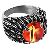 HZMAN Mne's Vintage Feather Stainless Steel Rings Red The Devil Eye Gothic Biker Jewelry (12)